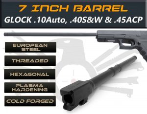 "Gen 3 & 4 Glock 7.5"" Barrels IGB Austria Match Grade Hexagonal Profile 7.5"" Threaded Barrel For .10auto, .40s&w And .45acp Calibers 3"