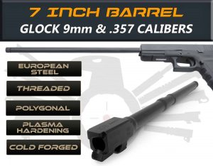 "Gen 3 & 4 Glock 7.5"" Barrels IGB Austria Match Grade Polygonal 7.5"" Threaded Barrel for .9mm & .357Sig Calibers 190"