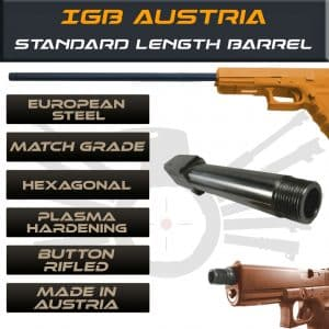 Gen 3 & 4 Glock Threaded Barrel & Fluted Barrel Standard Length - Match Grade Hexagonal Profile by IGB Austria 1