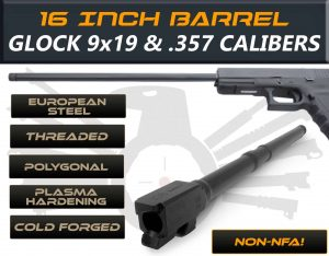 "Gen 3 & 4 Glock 16"" Long Barrel - IGB Austria Match Grade Polygonal 16"" Threaded Barrel For 9x19 & .357 Sig Caliber 188"
