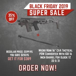 Black Friday 2019 YRSinc - Micro Roni 16 CAA Tactical PDW Converter With IGB 16 Inch Barrel For Glock 17, 22 & 31 (YRS) 3