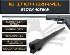 "Glock Gen 5 Barrels 16"" Made By IGB Austria - Match Grade Hexagonal 16"" Threaded Barrel for .40S&W Calibers"