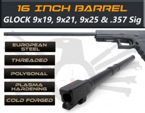 "Glock Gen 5 Long Barrels 16"" Made By IGB Austria - Match Grade Polygonal 16"" Threaded Barrel For 9x19, 9x21, 9x25 & .357 Sig Caliber"